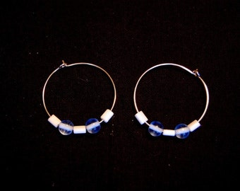 Blue and White Glass Bead Hoop Earrings