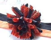 Pumpkin Scrolls and Swirls Boutique Baby Girl Korker Hair Bow Shimmery Elastic Headband
