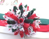 O Christmas Tree Evergreen Polka Dot and Red Scribble Trees Boutique Baby Girl Korker Hair Bow Shimmery Elastic Headband