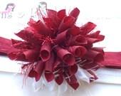 Santa Baby Santa Suit Christmas Boutique Baby Girl Korker Hair Bow Shimmery Elastic Headband