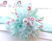 Bold Blossoms on Icy Blue Boutique Baby Girl Korker Hair Bow Clip Shimmery Elastic Headband