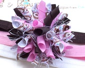 Yummy Frosted Donuts Boutique Baby Girl Korker Hair Bow Shimmery Elastic Headband