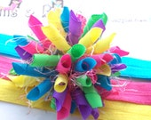 Easter Basket Brights Boutique Baby Girl Korker Hair Bow Clip Shimmery Elastic Headband