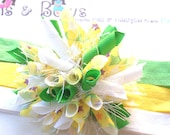 Lemon Lime Star Burst with Purple White Melon Boutique Baby Girl Korker Hair Bow Shimmery Elastic Headband