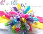 Spring Funfetti Brights n Swiss Dots Boutique Baby Girl Korker Hair Bow Shimmery Elastic Headband