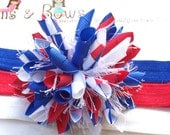 Red White and Blue Candy Stripe Patriotic Boutique Baby Girl Korker Hair Bow Clip Shimmery Elastic Headband