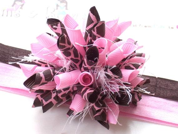 Pink Chocolate Giraffe Boutique Korker Hair Bow Shimmery Elastic Headband