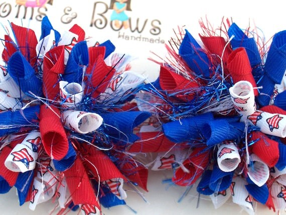Patriotic Perfect Flag Stars Red White Blue  Boutique Korker Piggy Tail Hair Bows