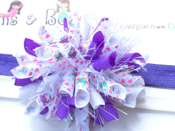 Purplelicious Girlie Owls Boutique Baby Girl Korker Hair Bow Shimmery Elastic Headband M2M