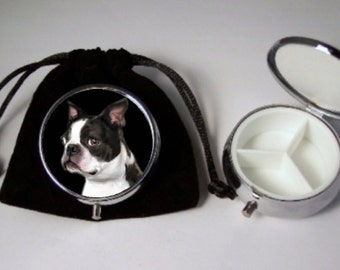 Boston Terrier Dog Pill Box silver tone with  3 compartments including a black pouch