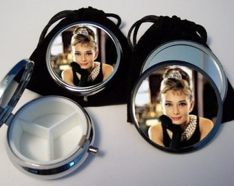 Audrey Hepburn Breakfast at Tiffany's Pocket Mirror and Pill Box Set silver tone with pouches