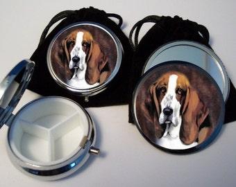 Basset Hound Dog Breed Pocket Mirror and Pill Box Set silvertone w pouches