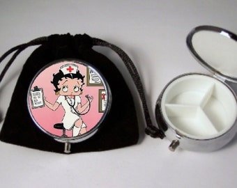 Betty Boop nurse Pill Box silver tone 3 compartment with black pouch