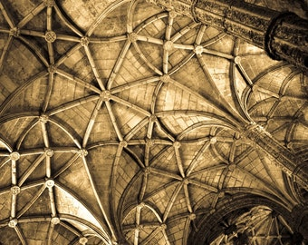 Photograph Abstract Sepia Portuguese Architectural Vaulted Web Ceiling in Belem Monastery Fine Art Portugal Travel Print Home Decor