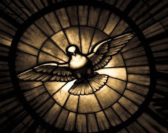 Photograph of Bernini's Sepia Stained Glass Dove Holy Spirit Window in St Peter's Cathedral Vatican Rome Travel Fine Art Pint Home Decor