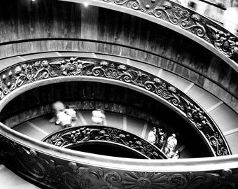Photograph Roman Black and White Bramante Architecture Winding Concentric Spiral Staircase In Vatican Museum Italy Art Print Home Decor