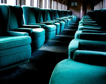 Photograph Turquoise Blue Soft Luxurious Velvet Upholstered Chairs Inside Connecticut Steam Train Interior Fine Art Print Home Decor