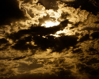 Photograph Dramatic Dark and Stormy Sepia Iran Persian Cloudy Sunset Dusk Sky Middle Eastern Vertical Travel Art Print Home Decor