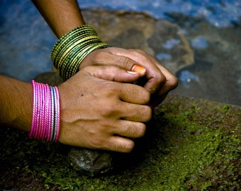 Photograph Kitchen Art Decor Rural Pakistani Village Woman's Hands with Green and Pink Glass Bangles with Mortar and Pestle Grinding Herbs