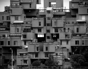 Photograph Habitat 67 Black and White Montreal Apartment Building Moshe Safdie Modern Architecture Horizontal Art Print Home Decor