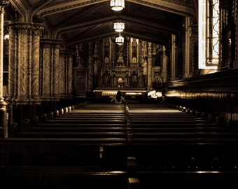 Photograph Sepia Solitary Spiritual Woman in Prayer Meditation inside Ottawa Catholic Cathedral Church Interior Art Print Home Decor