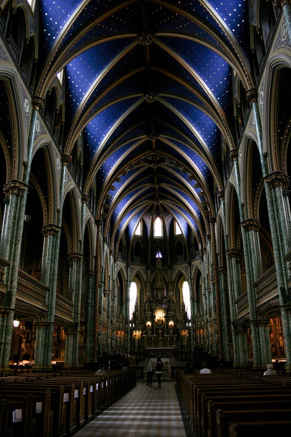 Photograph Cobalt Blue Vaulted Architectural Ceilings Interior of Catholic Notre Dame Cathedral Basilica in Ottawa Canada Vertical Art Print