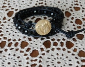Horse lovers leather wrap bracelet made with shiny jet beads and black leather. Horse bracelet- equine bracelet- wrap bracelet- beaded -