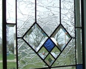 Architectural Clear Crackle Stained Glass Window Panel Royal Blue Accent with Bevels *SPING SALE