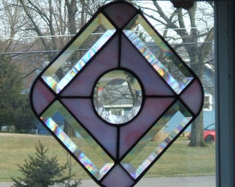 Pink White Opaque Glass with Bevels Stained Glass Suncatcher