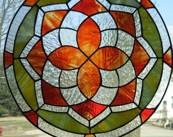 Colorful Stained Glass Round Panel Reds Yellows Clear Textures