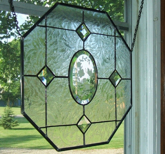 Octagon Stained Glass Window Panel Window Treatment Suncatcher