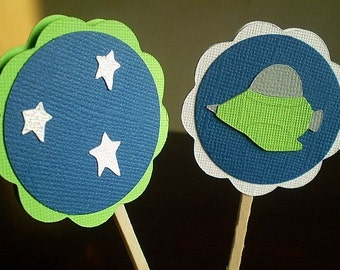 Outer Space Party Cupcake Toppers, Outer Space Cupcake Toppers, Spaceship Cupcake Toppers, Space Birthday Party, Space Party, Set of 12