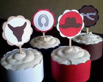 Cowboy Party Cupcake Toppers, Cowboy Birthday Party, Cowboy Cupcake Toppers, Western Cupcake Toppers, Cowpoke Party, Western, Set of 12