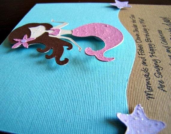Mermaid Party Invitations, Mermaid Birthday Invitation, Mermaid Shower Invitation, Under the Sea Party, Mermaid Swim Party Invite, Set of 12