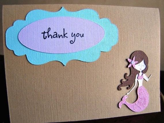 Mermaid Party Thank You Cards, Mermaid Thank You Card, Under The Sea Thank You, Mermaid Birthday Party, Girl Mermaid Party, Card, Set of 10