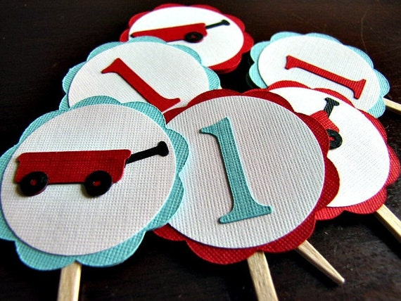 Little Red Wagon Party - Cupcake Toppers - Set of 24