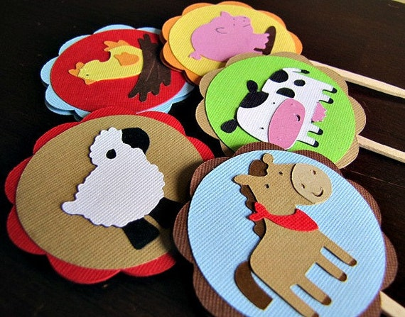 Barnyard Party Cupcake Toppers, Farm Party Cupcake Toppers, Farm Animal Cupcake Toppers, Barn Party Cupcake Toppers, Farm Party, Set of 12