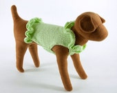 Light Green Dog Sweater with ruffles at neck