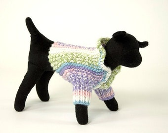 Stripped Dog Sweater Shrug with ruffles at neck