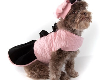 Pink Dog Coat Jacket with Black Corduroy ruffled skirt