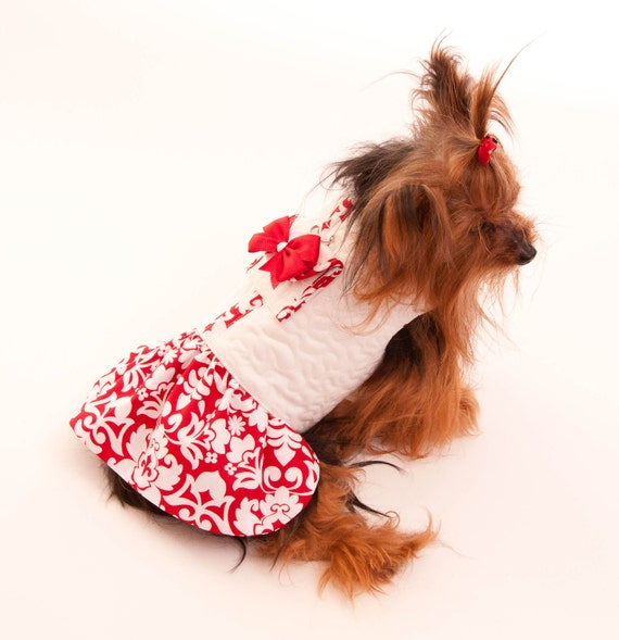White Dog Coat Jacket Dress with attached pocket and matching ruffled skirt