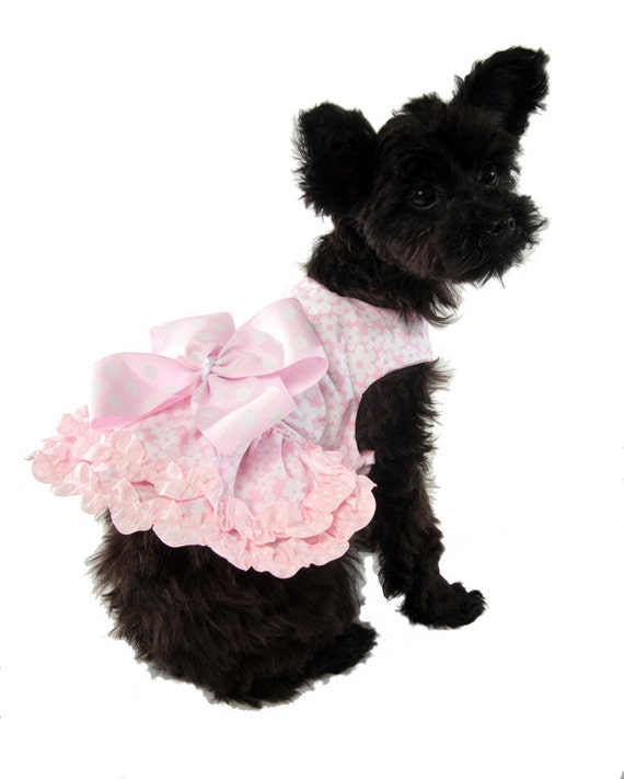 Pink Flowery Dog Dress with Pink Polka Dot Bow