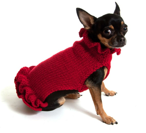 Red Pullover Dog Sweater Dress