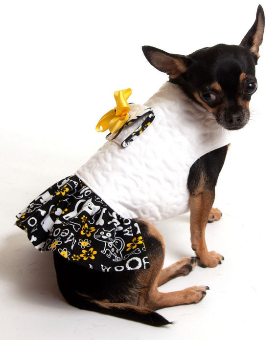 Quilted Dog Coat Jacket with attached pocket and matching ruffled skirt