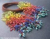 Rainbow Fringe Necklace. Leafy Cascade Handmade Rope Lariat with Multicolor Beaded Fringe