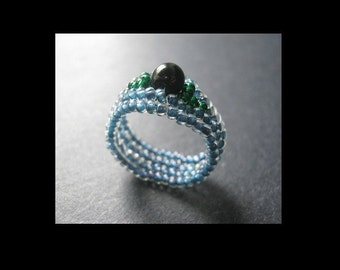 Ring Beading Tutorial. Easy Ndebele Weave Jewel Ring Pattern for Personal Use