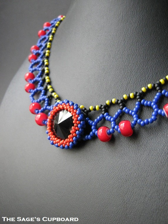 Black Heart Collar. Handmade Beaded Egyptian Necklace in Blue, Red and Jet Black
