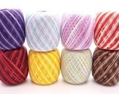 Free ship New lot 8 balls variegated  size 10 crochet cotton threads yarn - richipy