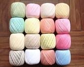 Lot 16 Balls Light pastel cotton yarn size 10 crochet threads knitting clea