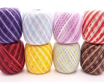 Free Ship New Lot 8 Balls Clea 125 Variegated Size 10 Crochet Cotton Threads Yarn - richipy